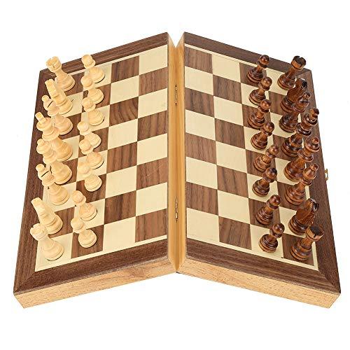 Hztyyier Juego de ajedrez de Viaje Tablero de ajedrez magnético Plegable de Madera Juego de Escritorio Juguete para niños Principiantes Adultos
