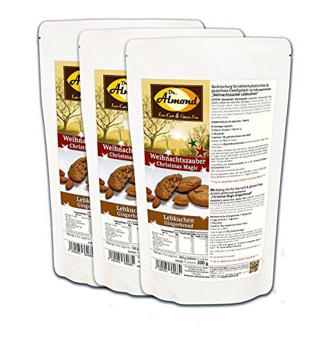 Dr. Almond Plätzchen Backmischung Weihnachtszauber LEBKUCHEN low-carb glutenfrei sojafrei keto (3er Pack) Zuckerfreie Kekse