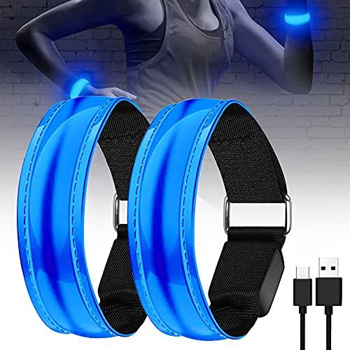 MEEQIAO 2 Piezas Brazalete LED Running, Alta Visibilidad y Ajustable Brazalete Reflectante, para Correr, Practicar Senderismo o Ciclismo (Azul)
