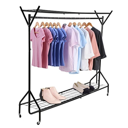 Kunyoxiu 5ft Clothes Rail Garment Rack with Shelves, Metal Cloth Hanger Rail Stand Clothes Drying Rack for Hanging Clothes,with Top Rod Organizer Shirt and Lower Storage Shelf for Boxes Shoes Boots