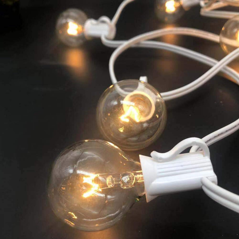 Aniai 100feet C7 G40 Globe String Lights with 100 Clear Bulbs, Best Outdoor Bistro Garden Party Backyard Patio Lighting,UL List White (2packs x 50ft 50bulbs)
