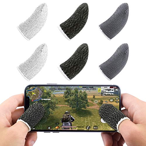 Newseego Mobile Game Finger Sleeve Controller, Touchscreen Fingerhülse Atmungsaktiv gegen Schweiß Sensitive Schieß- und Zieltasten für Regeln des Überlebens/Knives Out für Android & IOS [6 Pack]