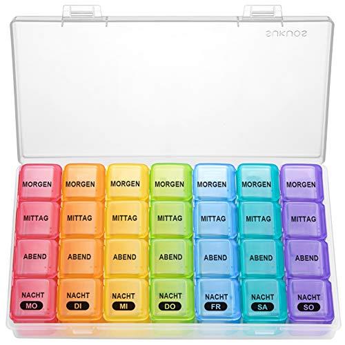 SUKUOS Tablettenbox 7 Tage Klein Pillendose 7 Tage 4 Fächer Deutsch Medikamentenbox Reise Morgens Mittags Abends Nachts - Transparente Box