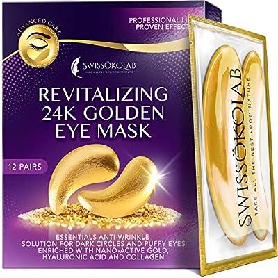 Collagen Eye Gel Pads with Puffy Eyes 24k Gold Eye Mask for Dark Circles and Puffiness SWISSKOLAB Moisturizing & Wrinkle Reducing Anti-Aging Hyaluronic Acid