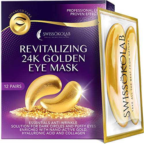 51Kw8OySo0L - Under Eye Patches For Puffy Eyes 24k Gold Eye Mask For Dark Circles And Puffiness Collagen Eye Gel Pads Moisturizing & Reducing Wrinkles Anti-Aging Hyaluronic Acid