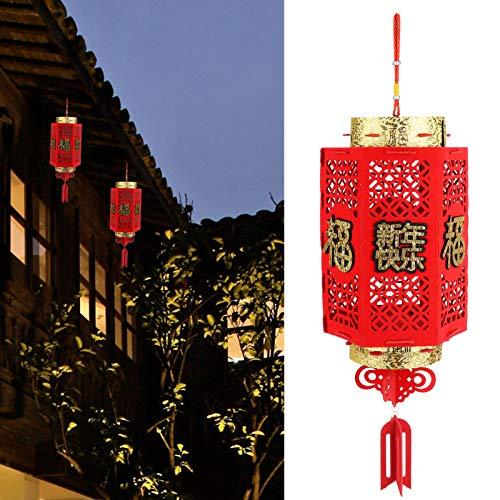 Gedourain Linternas de Año Nuevo, Material Flocado Grueso Linternas Flocadas Decoración de Año Nuevo Chino para Jardín Decoración de Patio para Decoración del Hogar