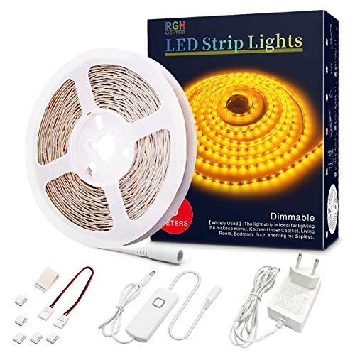LED Strip 5m, LED Streifen Dimmbar, 12V LED Lichterkette, Nicht Wasserfest 2835 SMD 300 LED Leiste für Innendekoration (Amber 1800-2000K)