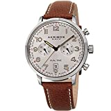 Akribos XXIV Men's Leather Watch – Multifunction Dual Time Chronograph – Brown and Silver Casual Designer Wristwatch with Sunray Dial - AK1023SSBR