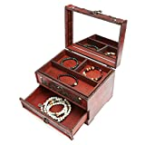 Retro Antique Flower Carved Wooden Jewelry Storage Box Container Case...