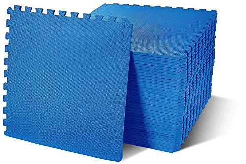 BalanceFrom Puzzle Exercise Mat with EVA Foam Interlocking Tiles, Blue, 144 sq. ft.(Pack of 36)