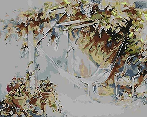 Pintura al óleo de DIY bricolaje pintura al Jardín Flor Gazebo Lscape- (40x50cm) -Marco de madera