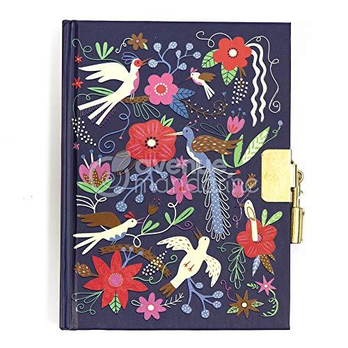 Avenue Mandarine CO205C - Un journal intime 240 pages lignées 11x14 cm avec fermeture cadenas, Oiseaux et fleurs