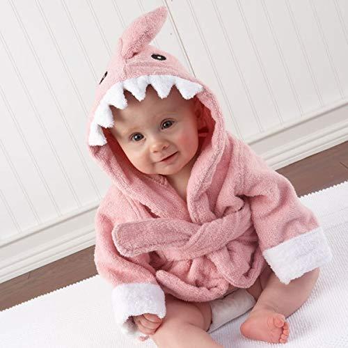 Tivivose 37 diseños de Modelos de Animales con Capucha ing bebé Albornoz/Historieta del bebé niños SPA Toalla/carácter del Traje de baño/Toallas de Playa for niños Toallas (Color : Pink Shark)