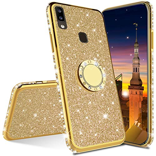 MRSTER Funda para Xiaomi Redmi Note 9, Glitter Bling TPU Bumper Brillante Diamante Protector Case con Soporte Ring Kickstand de 360 Grados Carcasa para Xiaomi Redmi Note 9. GS TPU Gold