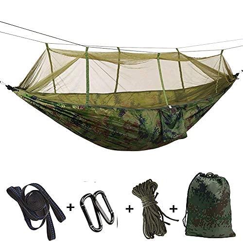 ZHBH WYJRF Hamaca de camping con mosquitero multifunción 260 x 140 cm, 300 x 200 cm, hamaca de viaje al aire libre, para camping, senderismo, mochilero, verde militar (al aire libre)