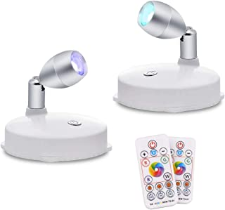 RGB Wireless LED Spotlight, Battery Operated Accent Lights, Indoor Mini Puck Light, Dimmable Uplight with Remote, 4000K Wa...