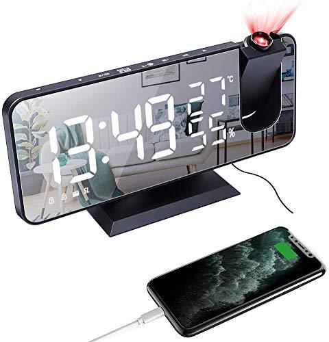 Sveglia con Proiettore,Sveglia Digitale da Comodino a LED,7,3 Pollici a 180° di Rotazione Sveglia Digitale,Radio FM Umidità Temperatura Interna,Porta di Ricarica USB 2 Sveglie 4 Livelli di Luminosità