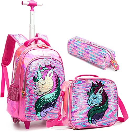 School Kids Rolling Backpack for Girls With Wheels Trolley Wheeled Backpacks for Boys