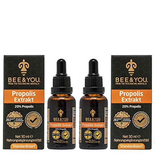 Bee&You Propolis Extrakt Tropfen 20% x 2 (30 ml) (Standardisiert auf 20% - Fairer handel - Keine Zusatzstoffe)