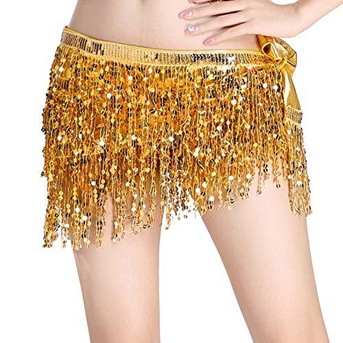 Mengmiao Donna Gonna Cintura Paillettes Nappa Danza Del Ventre Practice Spettacolo Belt Oro One Size