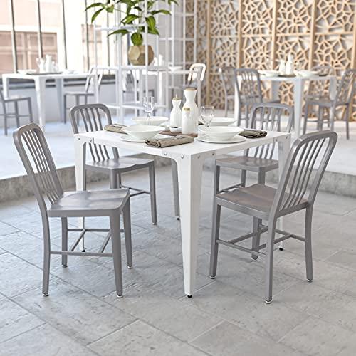 Flash Furniture Sedia per Interni ed Esterni, Metallo, Argento, 50.8 x 39.37 x 84.46 cm