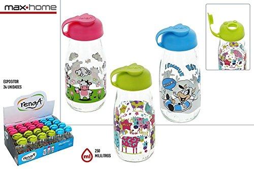 DISOK Lote de 24 Botellas de Cristal Leche Decoradas 250 ML Milky - Botellas, Termos, Cantimploras de Cristal Decoradas, para líquidos y Leche Originales Infantiles: Amazon.es: Hogar