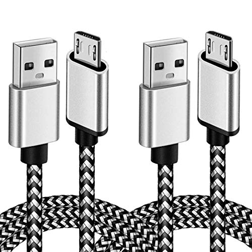 Micro USB Cable Android Charger 6ft 2 Pack Micro USB Android Charger Cable Nylon Braided Cord for Kindle fire Tablet Samsung Galaxy S7 S6 J3 J5 J7 Star Prime V 2017 2018 Note 5 Xbox PS4 White