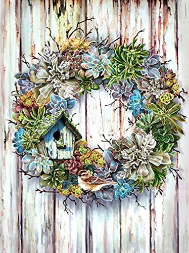 NC56 Schilderen op nummer, doe-het-zelf olieverfschilderij, bloem, vogelhuisje, voor volwassenen, beginners en schilderijen, woonkamer, decoratie, verjaardag, huwelijkscadeau, 16 x 20 inch zonder lijst