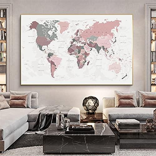WSF-MAP, 1 stück weltkarte poster drucken rosa farben wandkunst leinwand malerei groß größe wandbild für wohnzimmer wohnkultur cuadros kein frame (Farbe : DM346, Size (Inch) : 50X70cm Unframed)