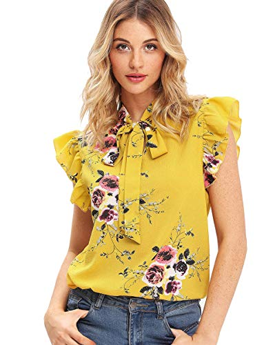 Attention: chiffon material, thin, a bit sheer, you need wear a cami top underneath Go up 1 or 2 SIZE UP, if you like loose fit style Fabric: light weight, no stretch Cap sleeve, short sleeve, ruffle sleeve, bow tie details, wear to work blouse for w...