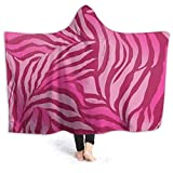Shenguang Wearable Hoodie Blanket Pink Zebras Hooded Throw Wrap Cape Cloak Sweatshirt Niños pequeños Durable Couch Bed Chal Franela con Mangas