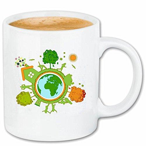 Reifen-Markt Kaffeetasse RETTET DEN Planet Recycle GLOBUS Erde Planet Umwelt Umweltschutz Keramik 330 ml in Weiß