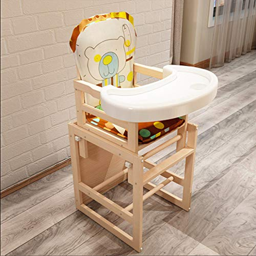 shixiaodan Trona Silla de Comedor de Madera Maciza Asiento Infantil multifunción Silla de bebé del bebé de los niños