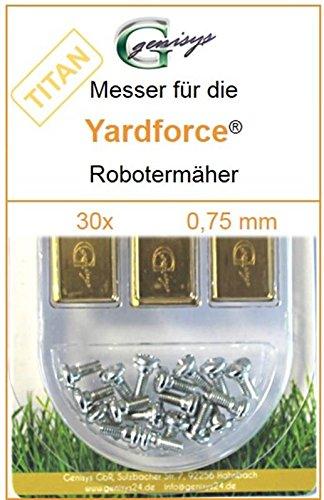 30 Titan Ersatz-Messer Qualitäts-Klingen 0,75mm Yardforce SC 600 Eco SC600-Eco SA 900 SA900 SA 600 H SA600H