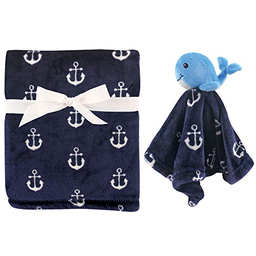 Hudson Baby Unisex Baby Plush Blanket with Security Blanket, Whale, One Size