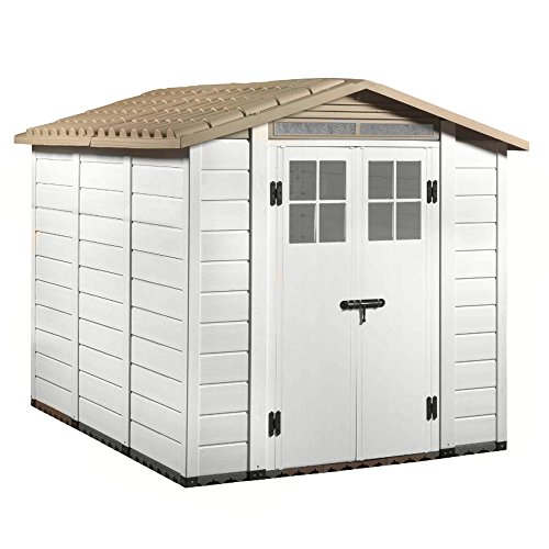 Casetta PVC beige pavimento box porta attrezzi giardino esterno TUSCANY EVO-240