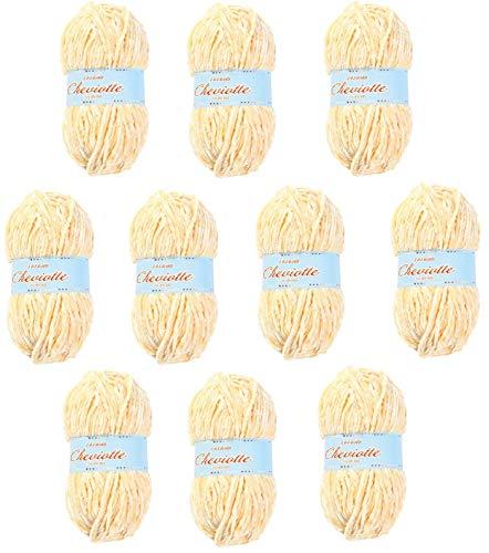Hilo de chenilla aterciopelada para Tejer Punto Crochet o Ganchillo CHEVIOTTE de TORRIJO 85g (10 unidades * 85g) | Color 12641-VAINILLA
