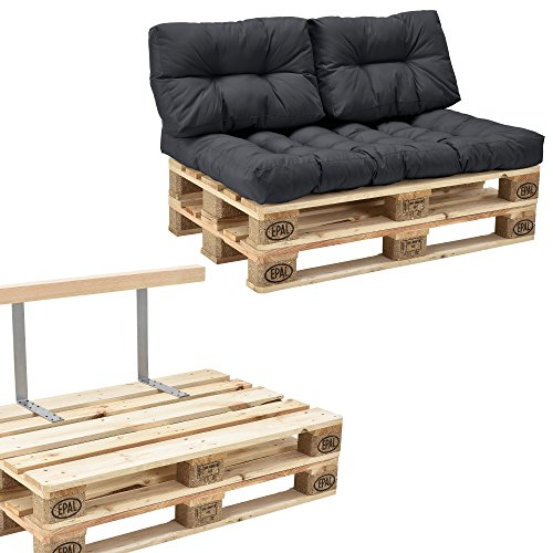 [en.casa] Euro Paletten-Sofa - DIY Möbel - Indoor Sofa mit Paletten-Kissen/Ideal für Wohnzimmer - Wintergarten (1 x Sitzauflage und 2 x Rückenkissen) Dunkelgrau - inkl. 2 Europaletten + Rückenlehne