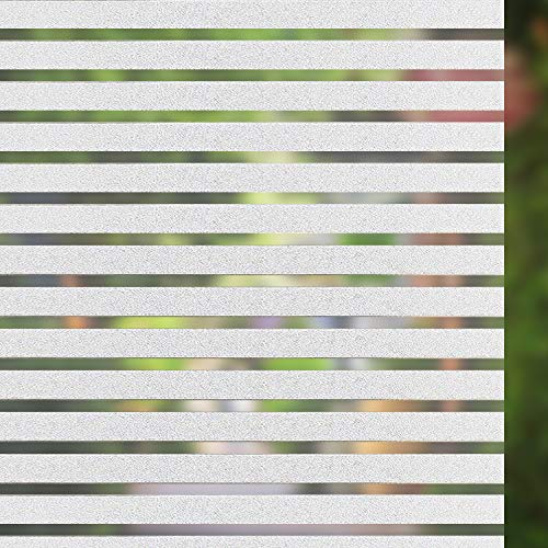 Concus-T Stripes Window Film Decorative Static Cling Privacy Glass Sticker No Glue Vinyl Premium Frosted Film for Home Office 35.43X78.74Inch