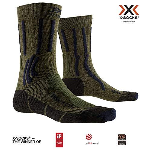 X-SOCKS Trek X Cotton Chaussette Mixte Adulte, Vert (Vert/Bleu), L (Taille Fabricant : 42-44)