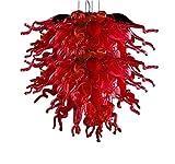 Pendant Light Elegant Art Lighting Hanging LED Red Mini Chihuly Style Hand Blown Glass Chandelier YJXUSHYQ