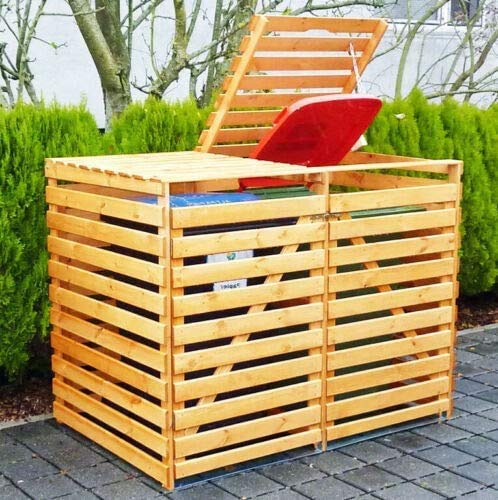 Double Wheelie Bin Storage Wooden Hideaway Store Outdoor Garden Rubbish Dustbin 2 Shed *WINNER 2021 MODEL