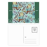 青い花のフクロウの保護動物のペットの恋人 グッドラック・ポストカードセットのカードを郵送側20個