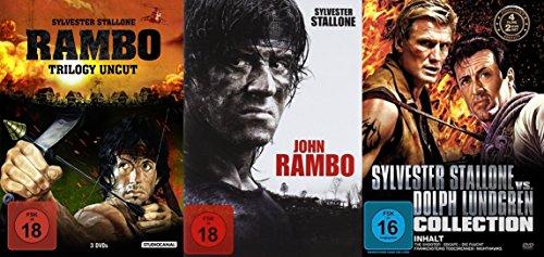 RAMBO 1 2 3 4 Complete Collection DVD + Bonus Nighthawks - Nachtfalken + Death Race 2000 - Frankensteins Todesrennen + Escape - Die Flucht + The Shooter