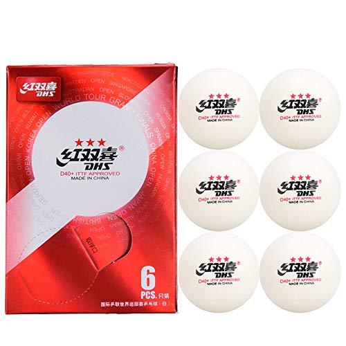 DHS ABS D40+ Tischtennisbälle, 3 Sterne, Weiß, International, World Tour, 6 Stück (1 Box x 6 Bälle)