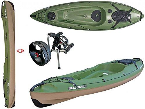 BIC Sport - Canoa Rigida in Polietilene Y0333 Bilbao Fishing Verde + Carrellino Eco 31605