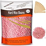 Hard Wax Beans for Painless Hair Removal, Brazilian Waxing for Face, Eyebrow, Back, Chest, Bikini Areas, Legs At Home 300g (10 Oz)/bag with 10pcs Wax Spatulas(Rose)