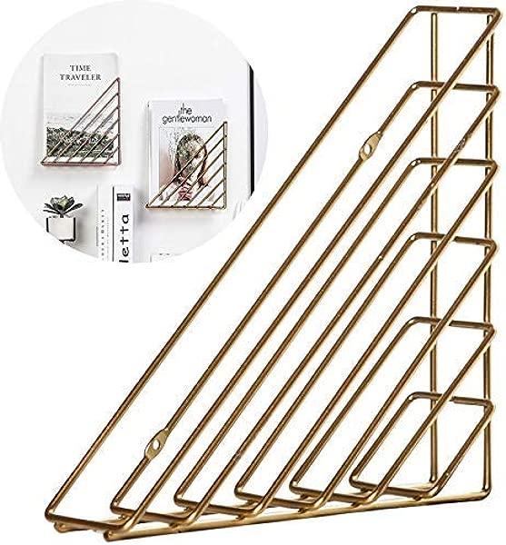 AnLeKING 1 Pack Hanging Wall Easel Display Stand Tabletop Book Holder Desktop Triangular Wire Metal Magazine Newspaper Book File Sorter Gold
