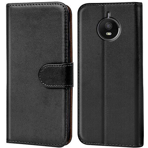 Verco Handyhülle für Moto E4 Plus Hülle, Schutzhülle für Motorola Moto E4 Plus Tasche PU Leder Flip Hülle Brieftasche - Schwarz