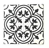 8x8 Flora Black White Porcelain Tile by Squarefeet Depot (10pcs)